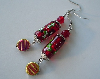 READY TO SHIP Red and Green Christmas Holly Lampwork and Glass Beaded Earrings