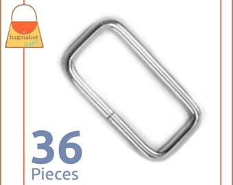 "1-1/4 Inch Rectangular Wire Loops / Rings, Nickel Finish, 36 Pieces, Purse Handbag Hardware, 1.25"" Rectangle, 1-1/4"", 1.25 Inch, RNG-AA055"