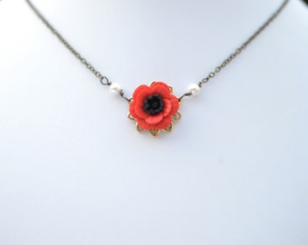 Bradley Delicate Simple Drop Red Poppy/Anemone Necklace. Red Poppy/Anemone Simple Drop Necklace