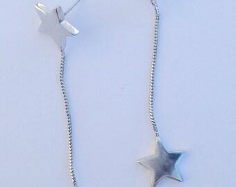 Silver falling star earrings
