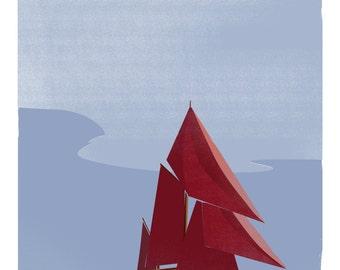 Seven Sisters retro sail boat illustrative print (a3)