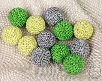 Crochet beads 12 PCS, 20mm Green Grey Wooden crochet beads Handmade craft supplies Bead mix