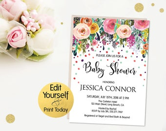 Editable Baby Shower Invitation, Baby Shower Invitation Template, Shower Invitation Template, Editable PDF, Printable Baby Shower Invite, B1