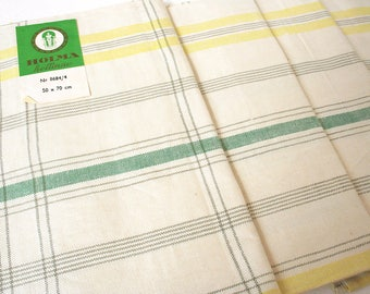 Lot of four high quality Swedish linen towels. NOS, vintage kitchen towels, cottage chic, yellow, gray, green, mid century, Holma helline.