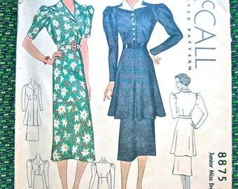 SALE 20% OFF Vintage 1930s Sewing Misses' Dress Pattern McCall 8875  Bust 32 inches