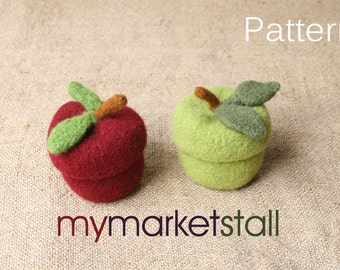 PDF KNITTING PATTERN - Felted Apple Jar w/Removable Lid
