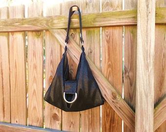 Black Faux Suede Hobo Bag