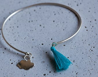 Sterling Silver Tassel Bangle Bracelet, Bangle Bracelet with Tassel and Cloud Charm, Silver Charm Bracelet, Tassel Jewelry, Charm Bangle