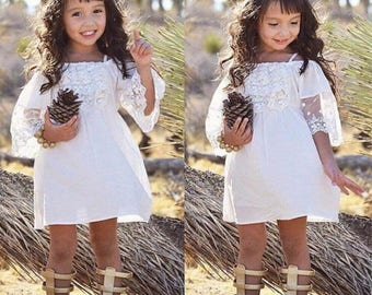 2017 New Toddler Kids Girls Summer Dress Off-shoulder Ruffles Lace Dresses Solid White Baby Girl Clothes Princess Costume 2-5