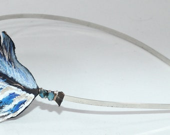 Hand painted leather bluejay feather headband
