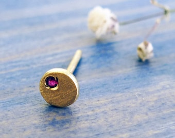 Tiny. Ruby and 14K Gold Organic Asymmetrical Stud. Hand Made One Tiny Gold Stud. Eco Friendly Recycled Gold. Rustic Sparkly Second Earring.