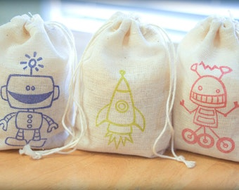 Robot Rocket Set muslin cotton favor bag 15 with stamp gift sack boy birthday party baby shower goodies treat bag