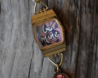 Be Mine. Love Necklace. Repurposed necklace. Watch. Watch Necklace. Unique Necklace. Statement Jewelry. Gift for her. Pink Jewel. Gift