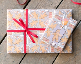 Sweet Christmas Wrapping Paper - Gift Wrap for Food Lover - Christmas Giftwrap - Gift for Cake Lover