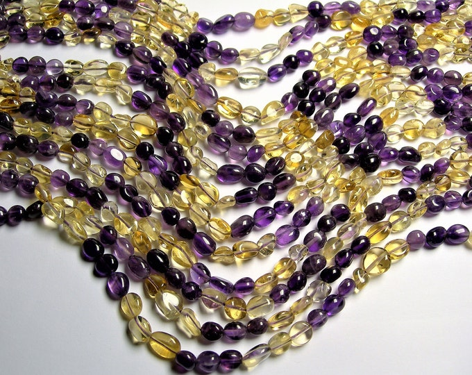 Amethyst Citrine mix gemstone bead - full strand - pebble nugget beads - A quality - PSC404