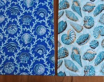 Sea Shell Placemats, Scallops and Coral in Teal, Turquoise, Aqua, Royal Blue, Seashell Nautical Beach Table Mat, Reversible, Natural World