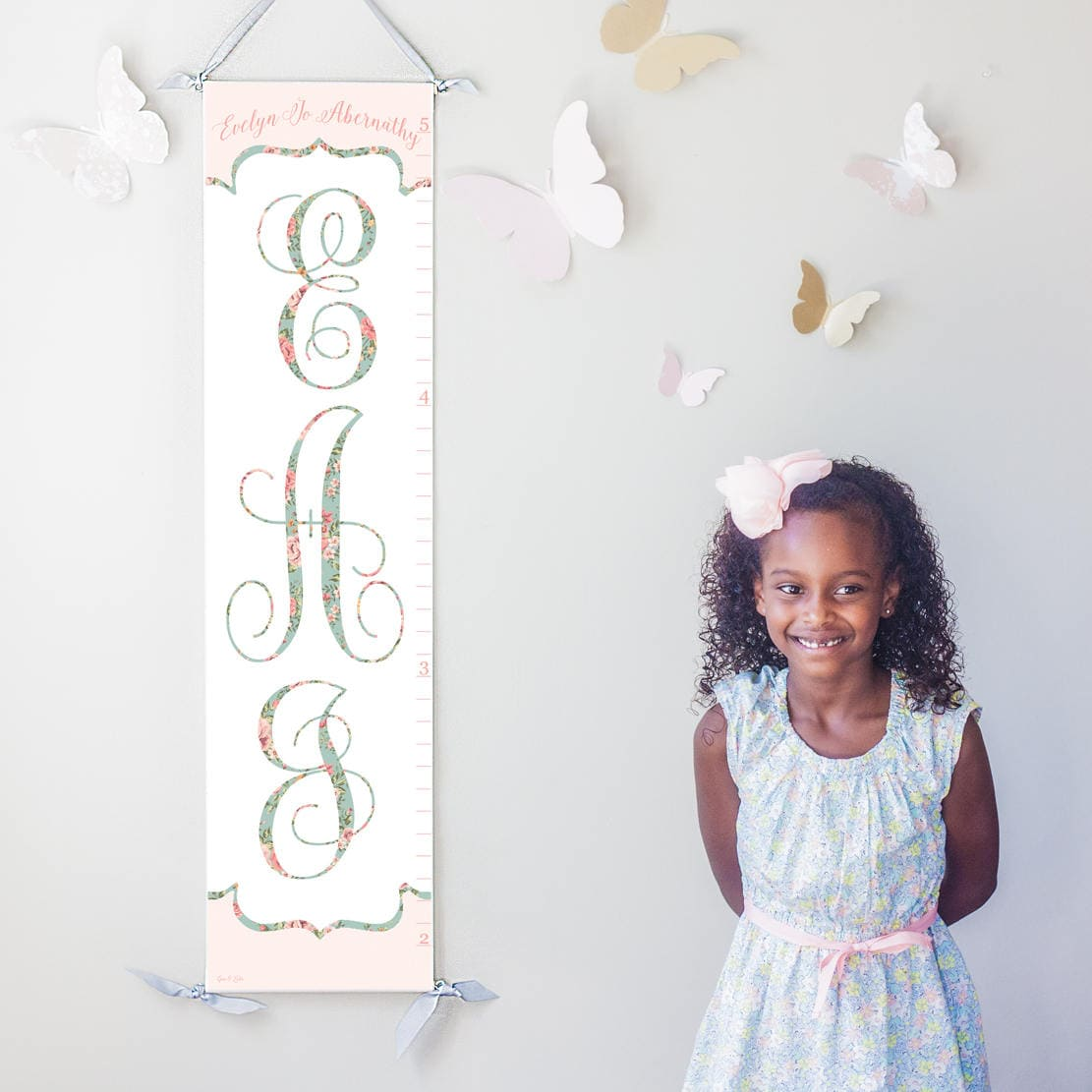 Personalized custom girls floral monogram canvas growth chart zoom nvjuhfo Gallery