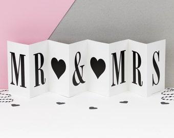 Mr & Mrs Wedding Card; Anniversary Card; Black and White Concertina Card; Wedding Banner Card; CC014