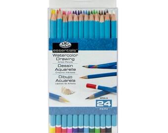 24 pc Set WATERCOLOR PENCILS Drawing Draw Art Supplies Royal Langnickel
