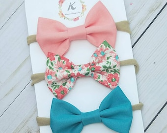 floral nylon headband set, baby girl headbands, peachy pink bow, floral bow, teal bow, baby hair bows, baby hair clips, floral bow set, bows