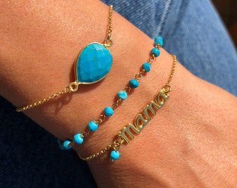 Turquoise Bracelet, Turquoise Stone Bracelet, Turquoise Rosario, Mama Bracelet, Gift for Her, Gift for Mother, Made from Sterling Silver 925
