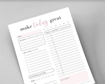 Daily Planner Printable  /  Letter, Half Page, A4, Personal  /  Pink, Classy  /  Binder, Organizer, and Agenda Page  / Instant Download