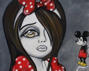 8 x 10 fine art print of BIG EYE ART  painting Girl Holding Mickey Mouse by Lizzy Falcon
