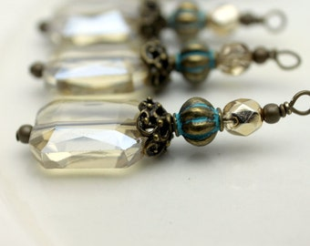 Golden Champagne Rectangle Faceted Crystal and Gold Czech Bead Dangle Charm Pendant Drop Set