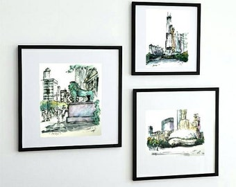 """3 PRINTS of Chicago Series 8""""x10"""". Sketches by Liz Vargas"""