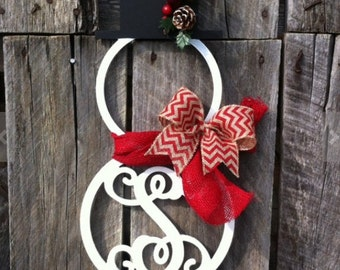 Snowman Wreath, Winter Wreath, Snowmen Wreath, Monogram Snowman Wreath, Winter Door Hanger