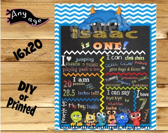 First Birthday Chalkboard sign boy 1st birthday blue monster chalk board photo prop customized first birthday poster digital file or printed