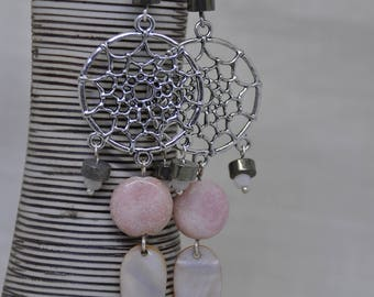 "Earrings ""Dreamcatcher"" Opal, pyrite, mother of Pearl and rose quartz"