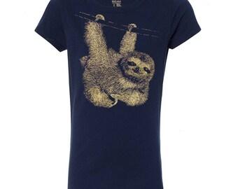 Girl's Sloth Princess T Shirt, 10% Donated to Animal Causes, Kid's Wildlife Tee