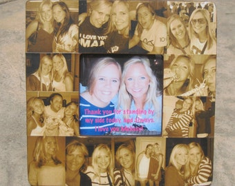 """Best Friends Photo Collage Frame, Custom Sister Gift, Personalized Maid of Honor Picture Frame, Unique Bridesmaid Collage Gift, 8"""" x 8"""""""