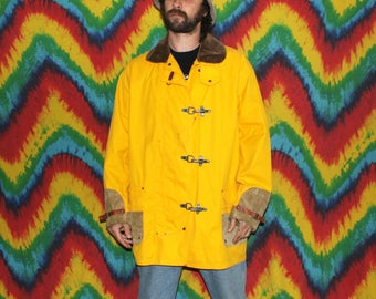 Rare Vintage Yellow Polo Jacket. 90s Nautical Hip Hop Hipster Jacket. Buckle Up Front Ralph Lauren Polo Retro 80s Jacket. Mens Fall Jacket.