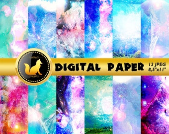 Pink Blue Abstract Digital Paper,Pink Blue Abstract Scrapbook Paper,Abstract Background,Pink Blue Abstract,digital paper,Rainbow Background