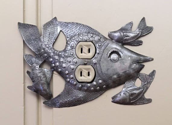 "Lighting, Metal Outlet Light Covers, Swimming, Fish, Haiti, Handmade From Recycle Oil Drum  9"" x 6"""