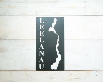 Lake Leelanau Steel Map Michigan
