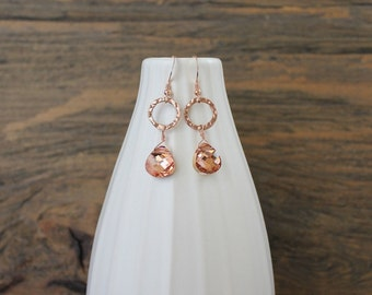 Rose gold and peach Swarovski earrings
