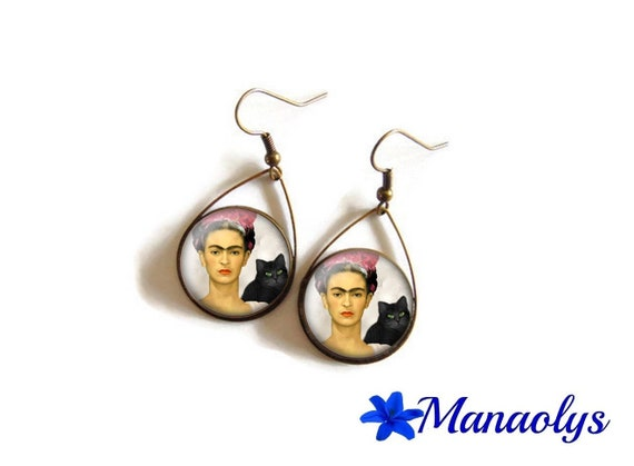 Earrings drops and frida kahlo cat 3231 glass cabochons
