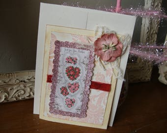 Birthday Card for mom vintage style greeting card embellished shabby chic pink hearts and flowers gift for mother