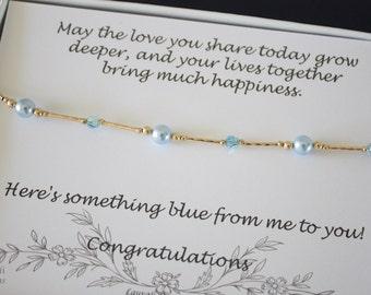 Something Blue Anklet, Bride Gift, Blue Swarovski Pearl Anklet, Charm Anklet, Adjustable Anklet, Gold Anklet