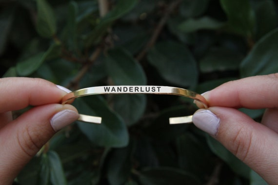 WANDERLUST cuff bracelet yoga Jewelry. Quote jewelry. Thin cuff bracelet. Travel Jewelry.