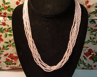 Classic 1980's Style Multi Strand Pale Pink Seed Bead Necklace