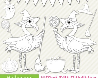 Flamingo halloween witch digital stamp, hallows eve digi stamp, scrapbooking, stamping, coloring, card design, outline PNG clipart (ST019)