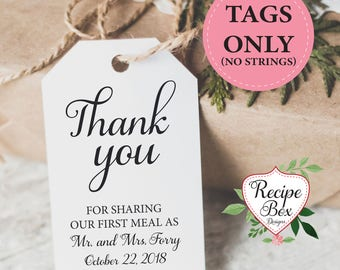 Thank you wedding favor tags, custom tags, Thank You For Sharing Our First Meal as Mr and Mrs. Rustic Wedding Favor Tag, wedding favor tags