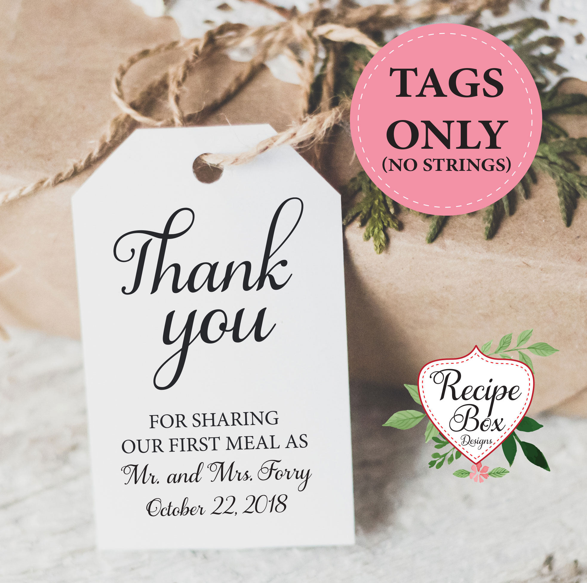 Thank you wedding favor tags, custom tags, Thank You For Sharing Our ...