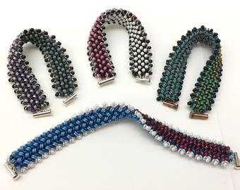 Reversible QuadraLentil Herringbone Bracelet