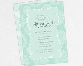 Baby Shower Invitation, Girl Baby Shower, Neutral Baby Shower, Printable Invitation, PDF Invitation, Floral, Flowers, Blue, jpeg, Cherished