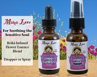 Soothing Emotional Overwhelm Flower Essence Dropper or Spray, Organic, Reiki-Infused, Bach Flower, Anxiety, Sensitivity, Empaths, Addiction
